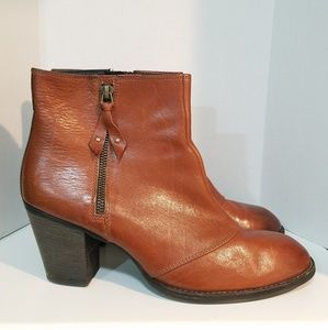 Paul Green Brown Leather Side Zip Booties - Size 8